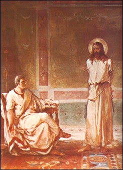Christ stands before Pilate